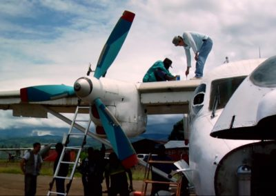 Plane being repaired