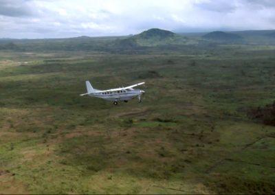 Plane flying over the Congo